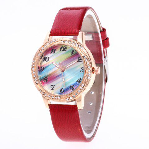New Fashionable Lady personality Rainbow Dial Leisure Wristwatch - RED