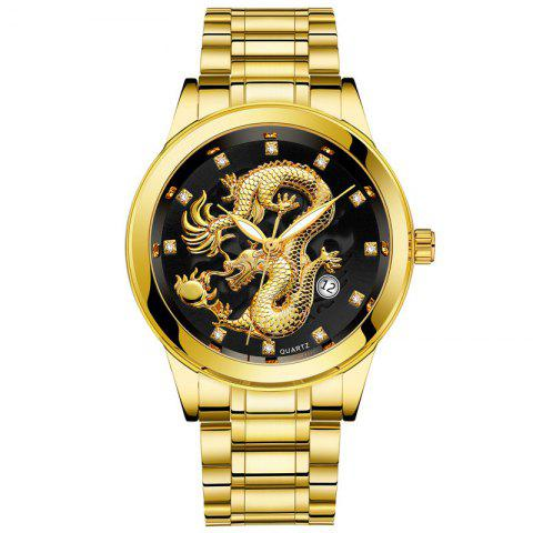 Men Atmospheric Golden Dragon Dial Fashion Business Steel Band Calendar Watch - multicolor A