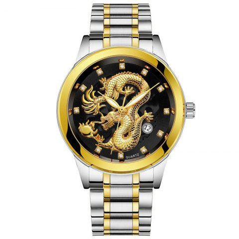 Men Atmospheric Golden Dragon Dial Fashion Business Steel Band Calendar Watch - multicolor D