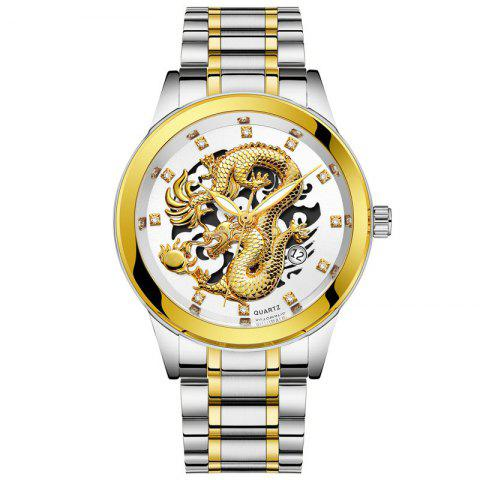 Men Atmospheric Golden Dragon Dial Fashion Business Steel Band Calendar Watch - multicolor E