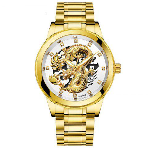 Men Atmospheric Golden Dragon Dial Fashion Business Steel Band Calendar Watch - multicolor B