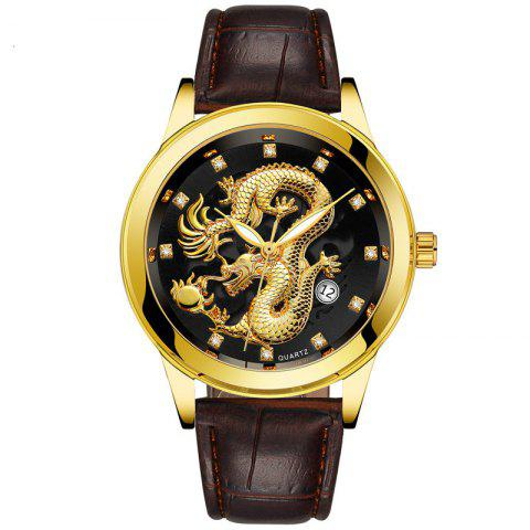 Men Atmospheric Golden Dragon Dial Fashion Business Belt Calendar Watch - BLACK
