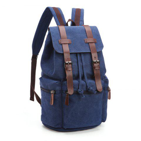 Retro Men And Women Canvas Bag Casual Fashion Computer Backpack - DEEP BLUE