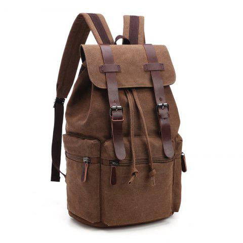 Men And Women Canvas Bag Casual Fashion Computer Backpack - COFFEE