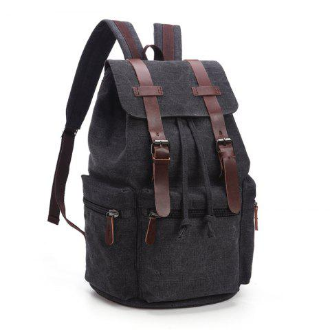 Men And Women Canvas Bag Casual Fashion Computer Backpack - BLACK