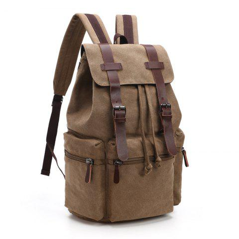 Men And Women Canvas Bag Casual Fashion Computer Backpack - DARK KHAKI