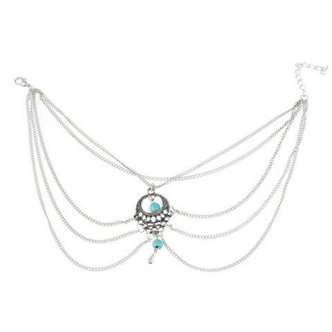 Elegant and Fashionable Women's Turquoise Foot Chain - SILVER
