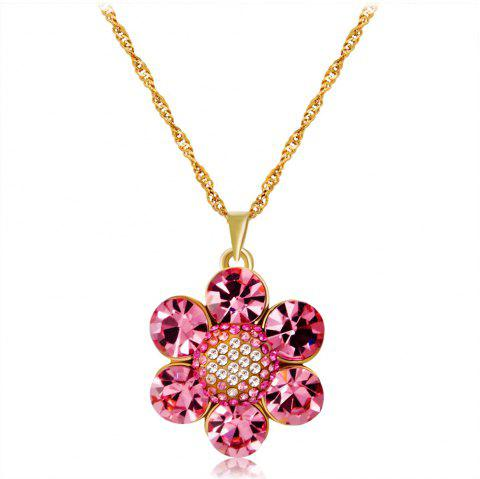 14K Gold-Plated Six-Petal Flower Pink Crystal Inlaid Zircon Pendant Necklace - GOLD