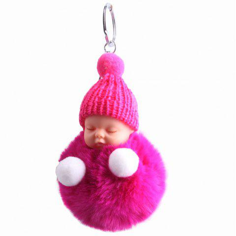 Sleeping Baby Plush Key Ring - NEON PINK