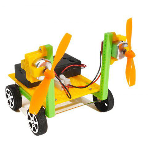 DIY Double Propeller Air Car Children Science Education Toy - multicolor