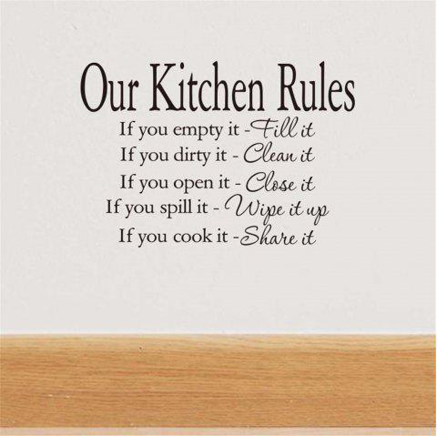 Kitchen Rules Art Vinyl Mural Home Room Decor Wall Stickers Home Decal - BLACK 38*56CM