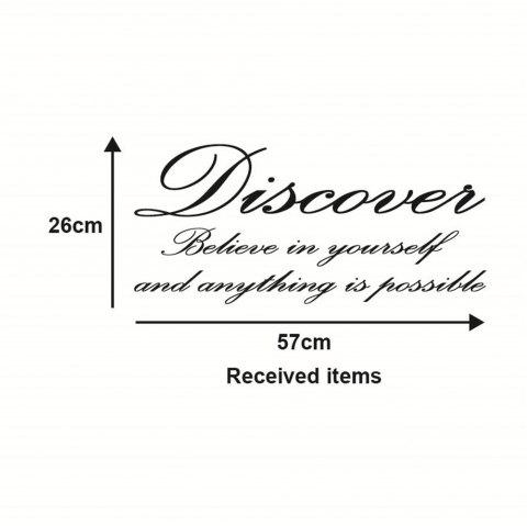 Discover Believe in Yourself  Art Vinyl Mural Home Room Decor Wall Stickers - BLACK 26*57CM