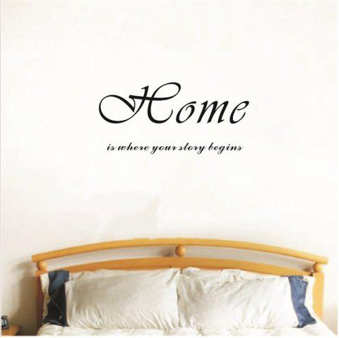 Home Is Where Story Begins Art Vinyl Mural Home Room Decor Wall Stickers - BLACK 24.5*56CM