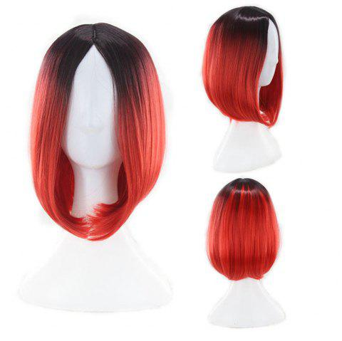 Heat Resistant Synthetic Ombre Wigs Long Straight Bob Red Pink Grey UK FAST - RED WINE