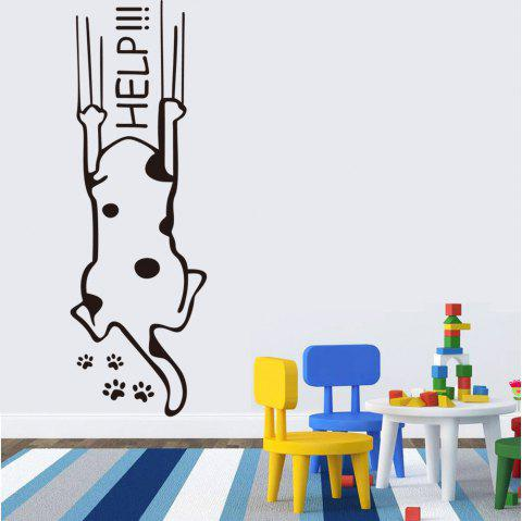 Funny Cartoon Dog Help Quote PVC Wall Sticker - BLACK 57X19CM