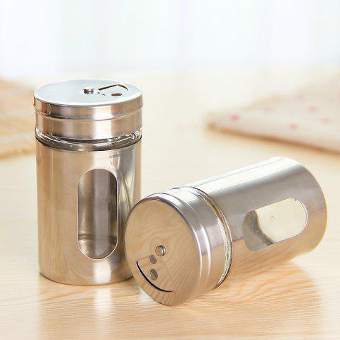 Kitchen Stainless Steel Cruet Rotating Glass Liner Barbecue Seasoning Box - SILVER 2PCS
