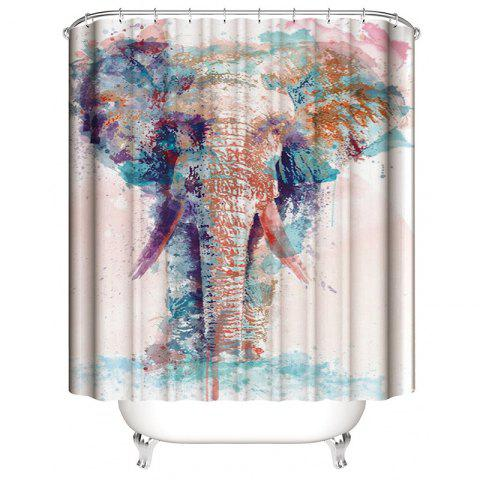 3D Printed Elephant Waterproof Mildew Shower Curtain - multicolor A W71 X L71 INCH