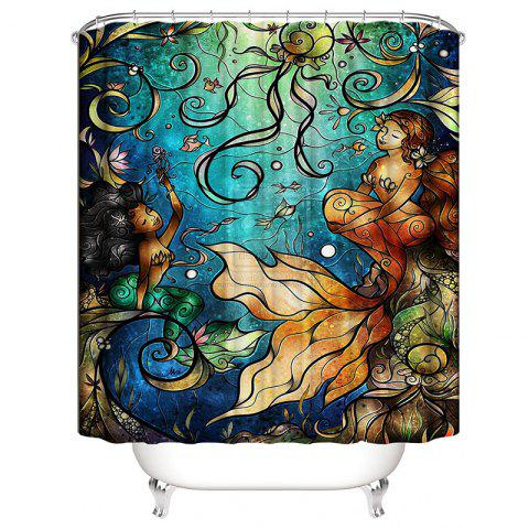 Mermaid 3D Digital Printing Waterproof Shower Curtain - multicolor W71 X L71 INCH