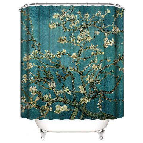 Woods Landscape 3D Digital Printing Waterproof Shower Curtain - multicolor B W71 X L71 INCH