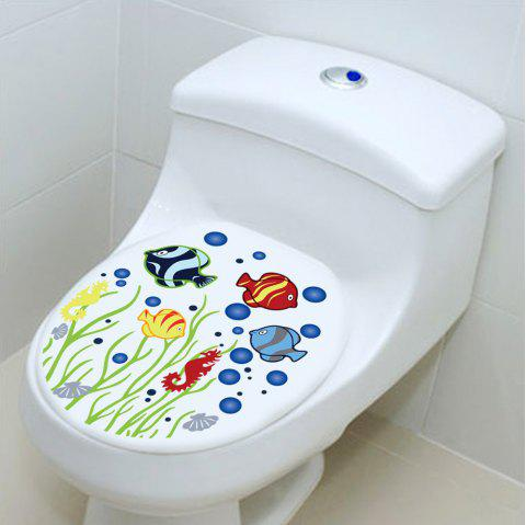 Underwater World Bathroom Toilet DIY Sticker Waterproof Removable - multicolor 2PCS