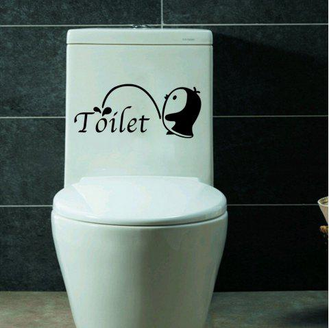 2PCS Small Penguin Toilet Stickers Bathroom Decoration DIY - BLACK 2PCS