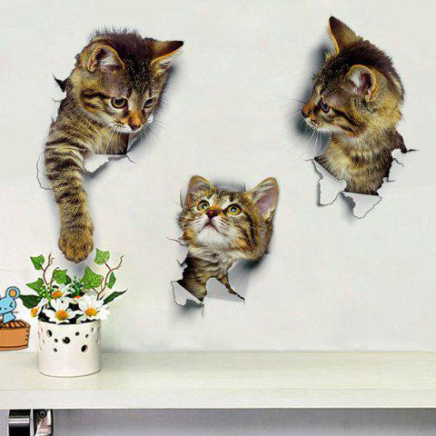 3PCS Stickers Muraux Chat Décoration 3D Autocollants De Toilette De Toilette DIY - multicolor 3PCS