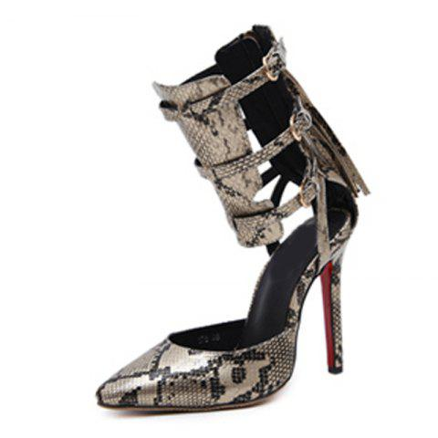 Women's Pointed Toe Stiletto Sandals Japanese High Heels with Cut Out - GOLD EU 41