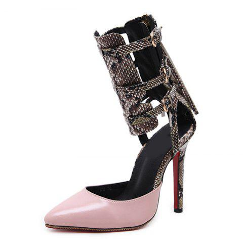 Women's Pointed Toe Stiletto Sandals Japanese High Heels with Cut Out - LIGHT PINK EU 37