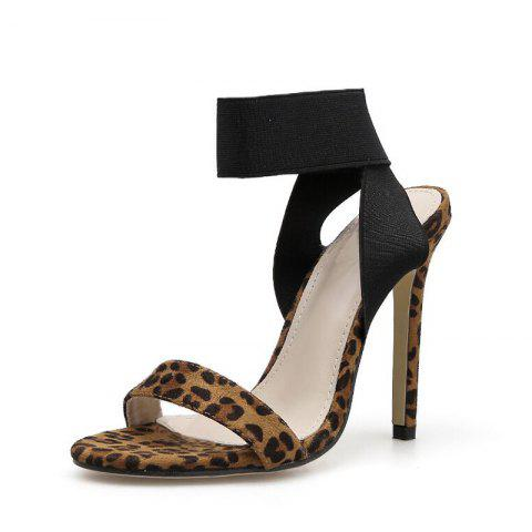 Women's Stiletto Sandals Sexy Party High Heels with Leopard - BROWN EU 35