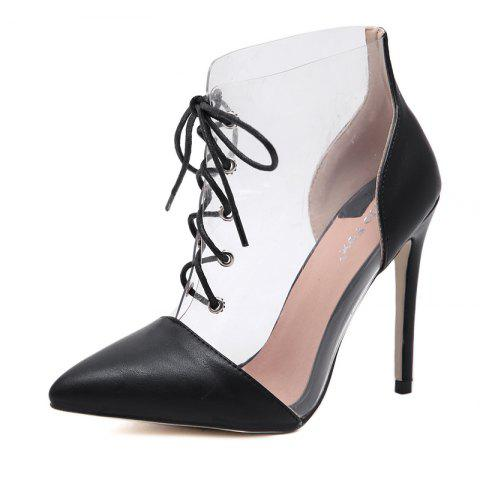Women's Pointed Toe Stiletto Shoes Fashion Party High Heels with Checkered - BLACK EU 38