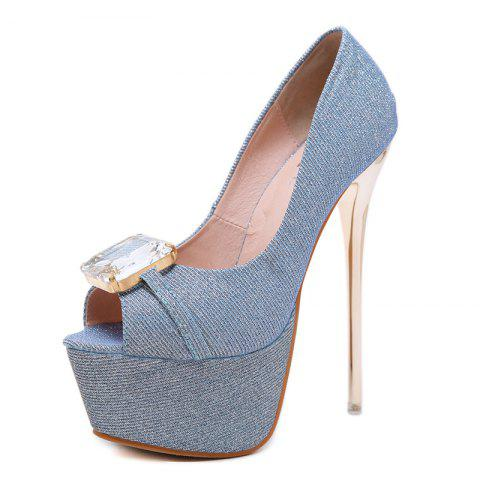 Women's Peep Toe Platform High Heels Luxury Party Sandals with Rhinestone - BABY BLUE EU 38
