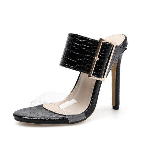 Women's Stiletto Mule Shoes Slim Party Slippers with Buckle - BLACK EU 38
