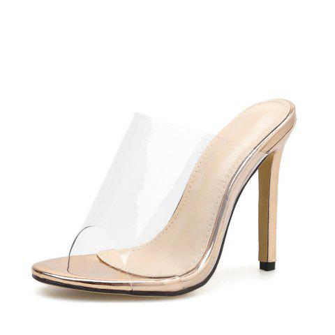 Women's Stiletto Mule High Heels Sexy Party Slippers - GOLD EU 38
