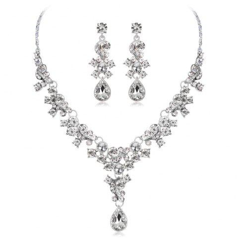 High-End Air Crystal Earrings Necklace Two Pieces of Jewelry - SILVER