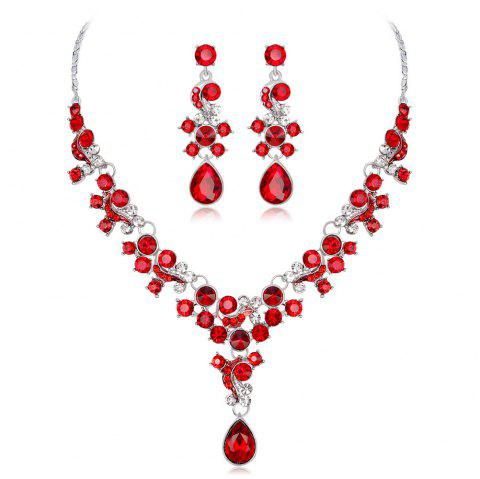High-End Air Crystal Earrings Necklace Two Pieces of Jewelry - RED