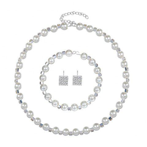 Necklace Earrings Bracelet Stylish Exquisite Silver-Plated Pearl Necklace Set - SILVER