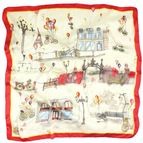 Ma'am Silk Printed Scarf Romantic Balloon Cartoon  Silk Scarf - RED