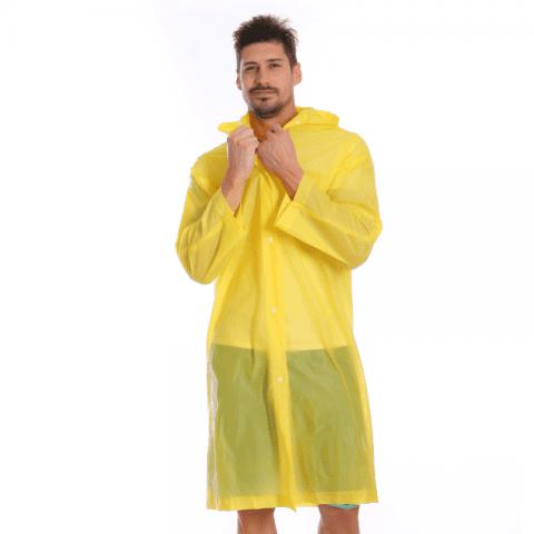 Adult PVC Long Rain Jacket Raincoat with Transparent Hoods for Theme Park - BRIGHT YELLOW XL