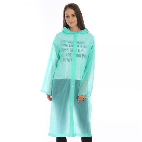Adult PVC Long Rain Jacket Raincoat with Transparent Hoods for Theme Park - LIGHT AQUAMARINE XL