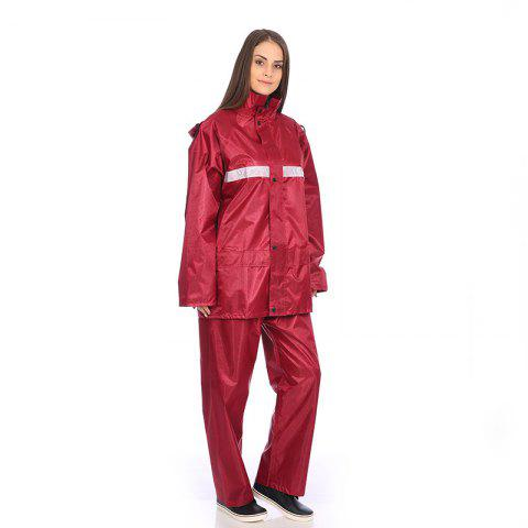Jacquard Fabric Raincoat Rain Suit Jacket with Pants for Outdoor Activity - NAVY BLUE 2XL