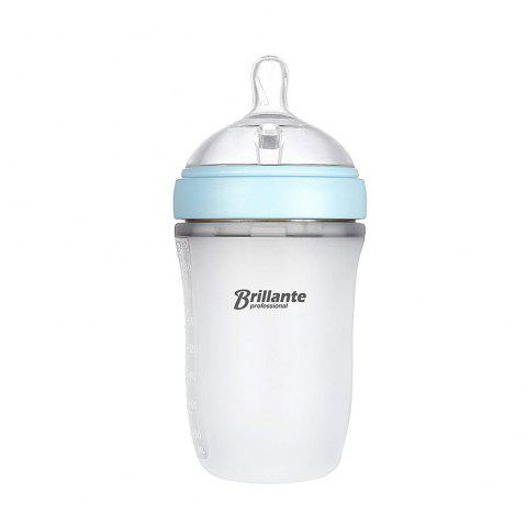 Brillante Wide Neck Anti-Colic Baby Silicone Feeding Bottle 3+ Months 240ml Blue - LIGHT BLUE 1PC