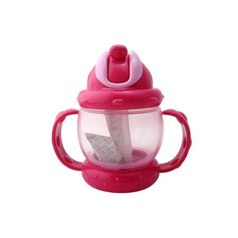 Baby Sippy Cup Solid Color High Quality Straw 240 ML Double Handles Water Bottle - HOT PINK