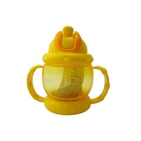 Baby Sippy Cup Solid Color High Quality Straw 240 ML Double Handles Water Bottle - YELLOW