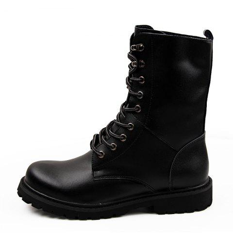 Leather High-Top Men'S Boots British Fan Shoes Motorcycle Boots - BLACK EU 42