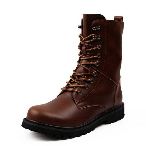 Leather High-Top Men'S Boots British Fan Shoes Motorcycle Boots - BROWN EU 40