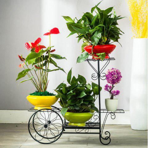 Flooor Plant Holder 4 Teir Wrought Iron Flower Shelf Rack Garden Decoration - BLACK 65CM