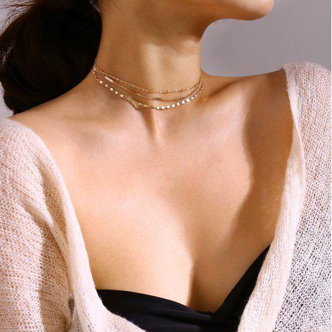 Multi-Layer Metal Clavicle Necklace - GOLD 1 SET
