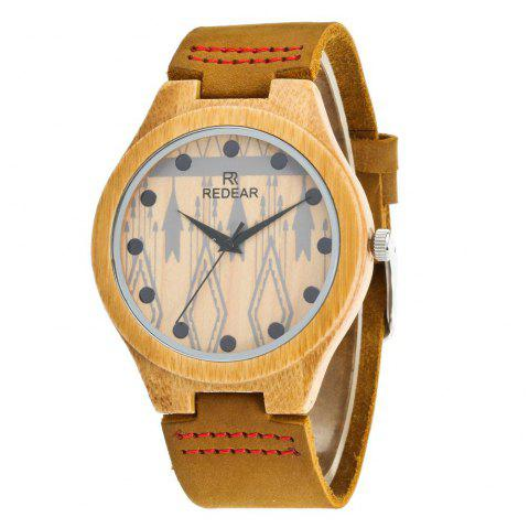 Personality Design Leather Strap Wristwatch Lightweight Bamboo Quartz Watch - multicolor A