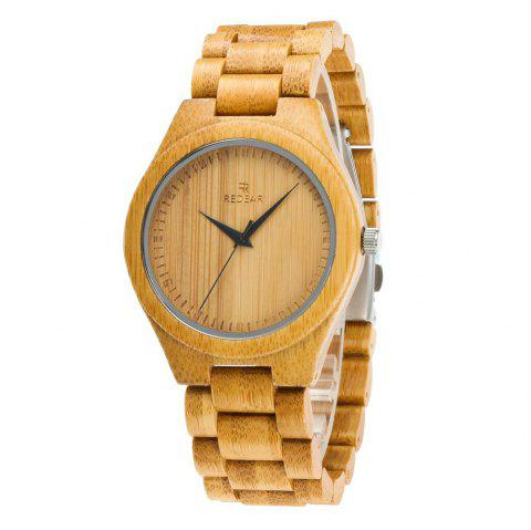 Fashion Creative Natural Bamboo Wooden Wristwatch Quartz Watch - multicolor A