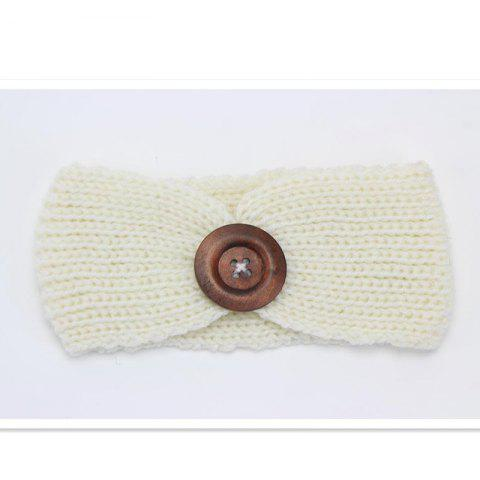 Handmade Children'S Big Button Knitted Hair Band - WHITE